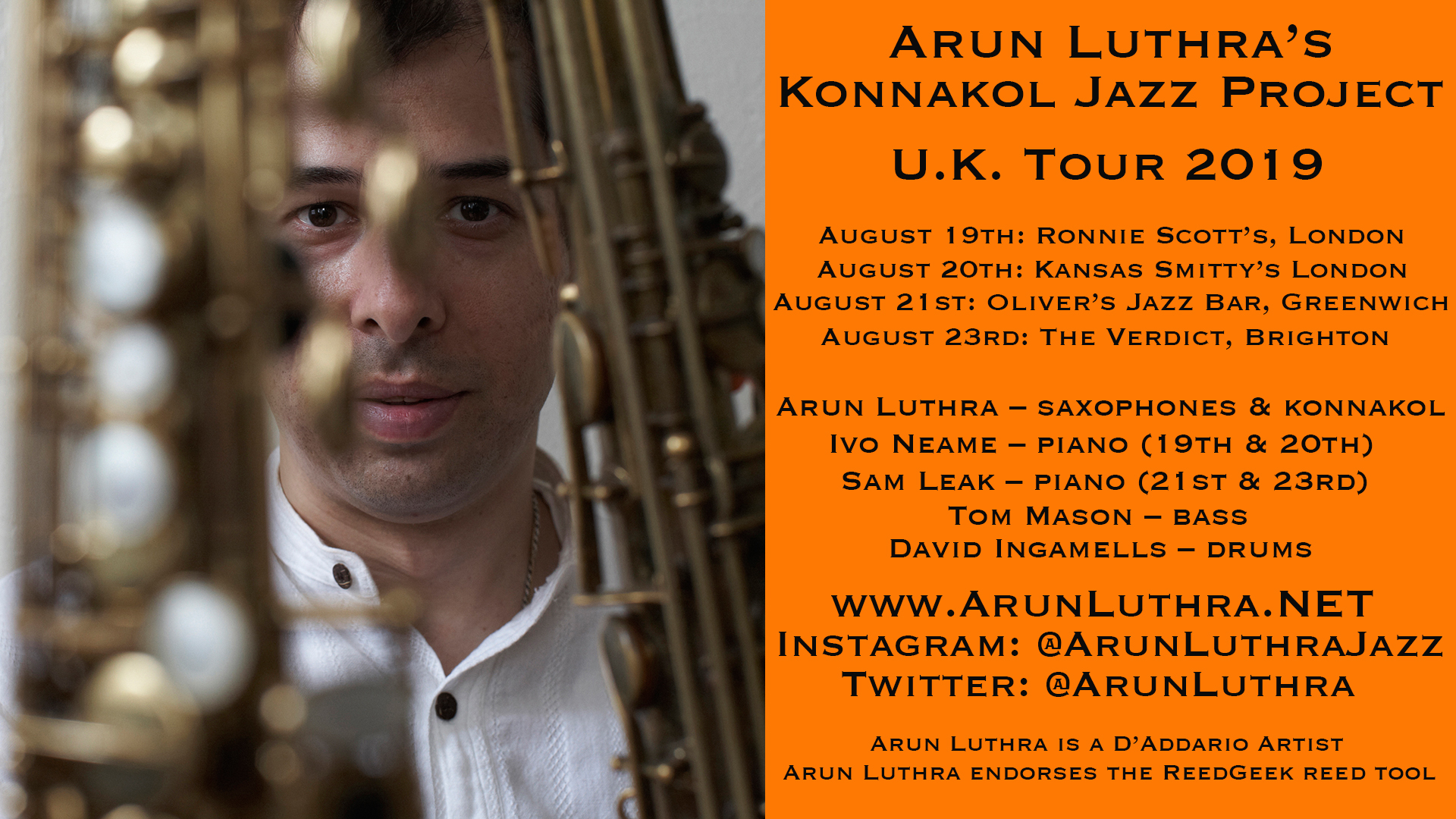 JLR Review: Arun Luthra at Oliver's Jazz Bar, August 2019